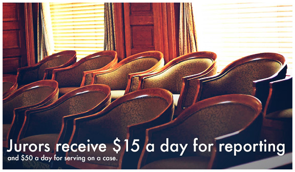 Jurors recieve $15 dollars a day for reporting and $50 a day for serving on a case.